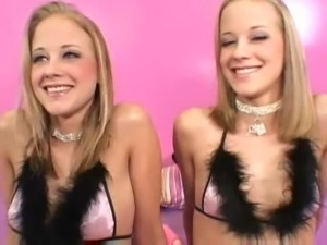 Real hot blonde twins get threesome