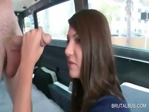 Tempting teen sucking big cock in the bus