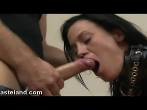 A  raven haired submissive is bent over a spanking bench and played with by...