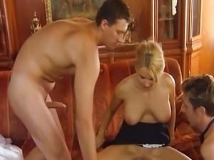 Winnie - Milf Maid fucked by 2 guys