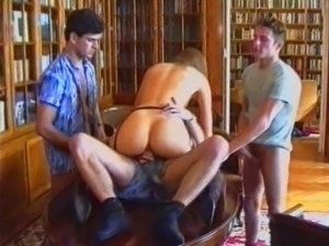 Russian Lolita Triple Fucked in Library