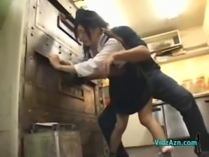 Asian Girl In Uniform Getting Her Pussy Fucked Facial In The Restaurants Kitchen