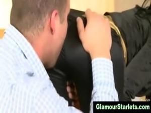 Clothed glam euro slut gets fucked free