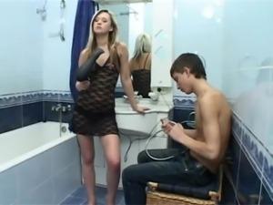 Bathroom sex:Hot  Russian Teen Natasha free