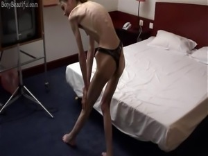 Sexy bony anorexic skinny babe posing