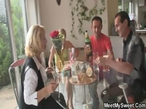 Her birthday ends up with family threesome free