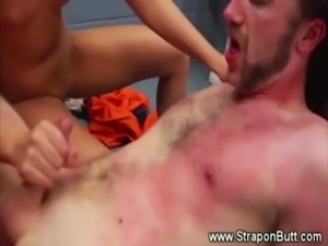 This guy gets overloaded with blond attention and thier strapons free