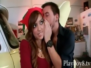 Skinny latin girl blowjob and pounded in her shaved coochie free