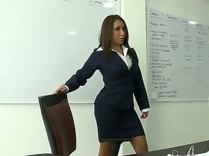 Business lady Angelina gets her pussy licked in the office while her husband...