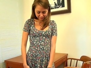Pretty teen Riley Reid in cute dress gets naked demonstrating her innocent...