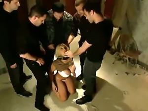 Sexy blonde was fucked very hard and made suck cocks of several dudes in the...