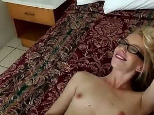 Skinny blonde Missy James is invited to suck Tyler Steels awesomely huge pecker