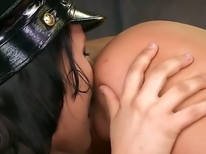 Naughty lesbian cop gets more than she bargained for her tight gaping cunt is...