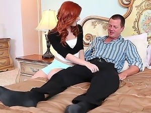 The gorgeous redhead pornstar Dani Jensen makes a great deep blowjob to her...
