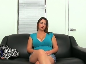 Tiffany Cross exposes her big tits and starts to amaze while attending to...