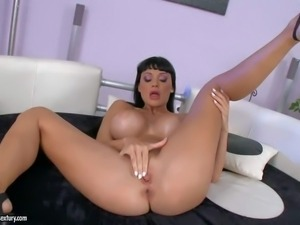 Turned on bootylicious black haired bombshell Aletta Ocean with full