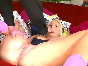 Sweet Kimmy Olsen gets a huge cock from an older stud that pleases her good