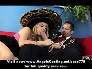 Gorgeous blonde lady does blowjob and handjob for spanish guys