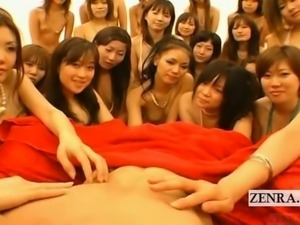 Subtitled POV Japanese soapland queens group handjob