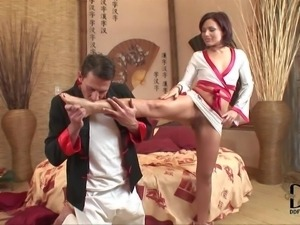 Naughty brunette Sylvia Laurent spreads her legs invitingly in front of a...