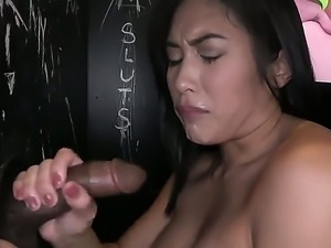 Sexual Asian chick Mia Li just cant stop playing with big throbbing penises...