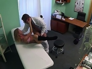 Doctor fucking blonde in pantyhose and gives her creampie