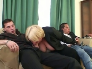Drunk granny slammed by two studs