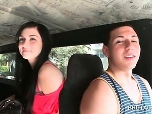 Brunette teen amateur daring to take the sex bus for a fuck