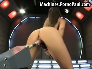 Girls tight pussy fucked by machines