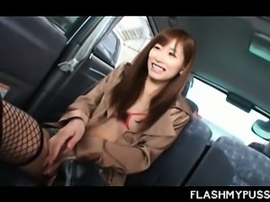 Sex addict teen Japanese flashing tits and pussy in a taxi