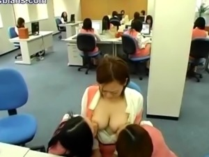 They gang up on an innocent chick and grope and suck her tits while she...