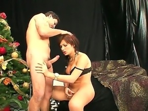 Exciting tranny and her boyfriend are having nice fuck together. Beautiful...