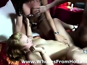 Two Dutch hookers for lucky amateur guy in Amsterdam