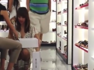 Upskirt Shoe Store Assistant 3