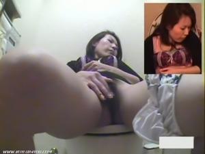 Asian brunette masturbates in the bathroom