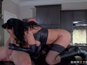 Isis Loves black dominatrix outfit was a surprise for her husband. Smoking...