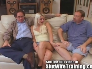 Blondie Wife Fucks While her Hubby Watches