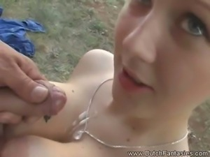 Dutch brunette teen gets banged outdoors