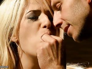 Blonde Blanche wraps her lips around guys hard sausage