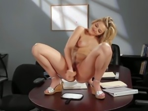 Young looking naughty blonde secretary Alexis Texas with natural boobs and...
