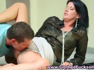 Clothed mature fetish sex and a doggy style
