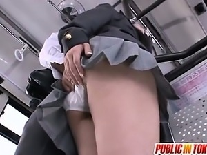 Schoolgirl Mana Katase Gets Her Panties Felt Up On A Bus
