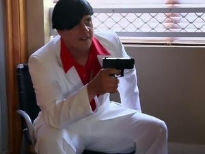 They catch him fucking Melanie Rios in this steamy scene from Scarface porn...