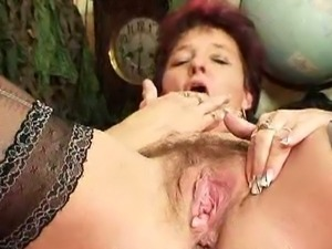 Horny old slut majka displays her pussy cave