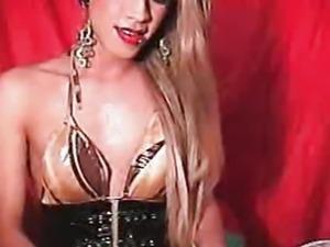 Blonde Tranny Solo Masturbation