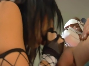 Kinky brunettes have group sex in ripped fishnet lingerie and stiletto heels