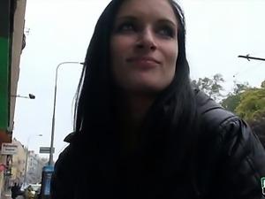 Beautiful amateur Euro slut Rosalinda flashes her big tits