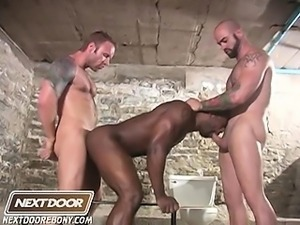 2 white guards tease, abuse and fuck a muscular black