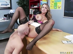 Sultry temptress Alanah Rae with giant tits is a blowjob addict that loves...