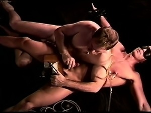 CBT I crush my young,hot,restrained, blindfolded muscle hunk's balls in vise...